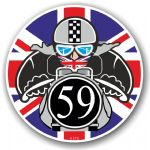 Year Dated 1959 Cafe Racer Roundel Design & Union Jack Flag Vinyl Car sticker decal 90x90mm